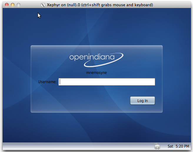 Screenshot of MacOSX Xephyr connected to OpenIndiana