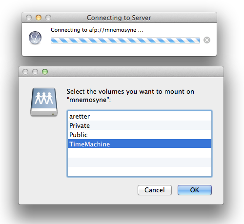Screenshot of MacOSX Connect to Server dialog