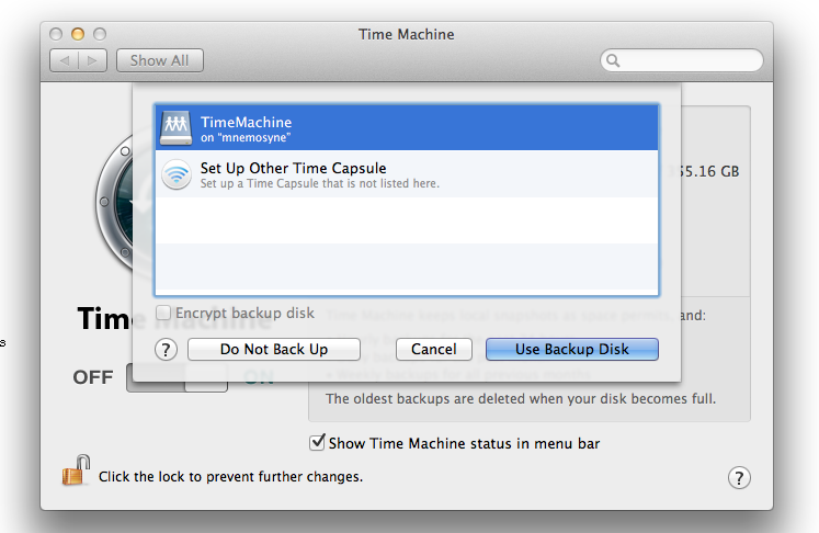 Screenshot of MacOSX Time Machine